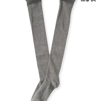Aeropostale Womens Ruffled Over-The-Knee Socks - Gray, 9-11