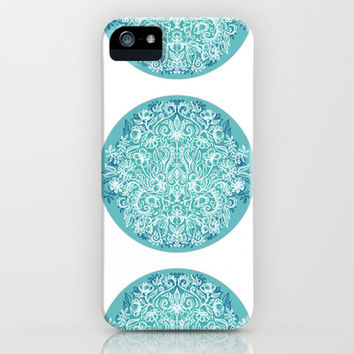 Spring Arrangement - teal & white floral doodle iPhone & iPod Case by micklyn