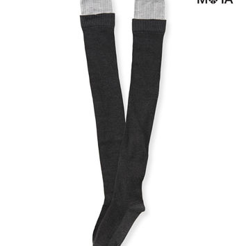 FAUX LAYERED THIGH-HIGH SOCKS