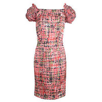 YSL YVES SAINT LAURENT RESORT SILK PINK PRINTED DRESS Puff Sleeve NWT $2595 sz 8