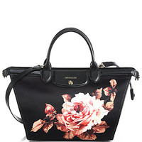 Le Pliage Rose-Print Nylon & Leather Heritage Satchel