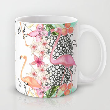 TROPICAL FLAMINGO Mug by Monika Strigel | Society6