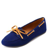 Perforated Lace-Up Loafers by Charlotte Russe - Navy