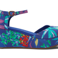 BLUE BIRDS OF PARADISE VEGAN WOMEN'S PLATFORM WEDGES