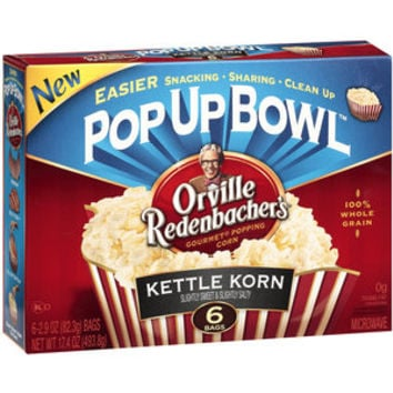 Walmart: Orville Redenbacher's Pop Up Bowl Kettle Korn Gourmet Popping Corn, 2.9 oz, 6ct