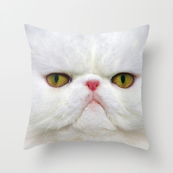White Cat Throw Pillow by Erika Kaisersot
