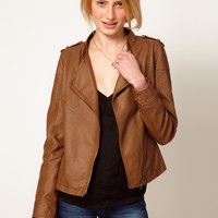 A Wear Tan leather look Biker Jacket
