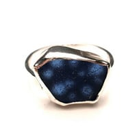 Hand Fabricated Cobalt Blue Natural Sea Glass Ring in Sterling Silver- OOAK Size 6-7