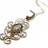 Labradorite and Pink Chalcedony Filigree Necklace in Sterling Silver