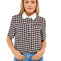 Kaila Gingham Collar Cropped Blouse in Black