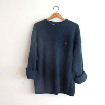 20% OFF SALE / vintage cotton sweater. blue baggy sweater. oversized men's Ralph Lauren sweater / L
