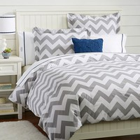 Chevron Duvet Cover + Sham, Light Gray