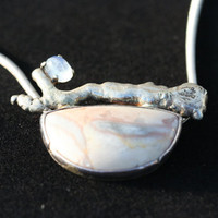 OOAK Agate gemstone Moonstone Sterling Silver by LesleyPridgen