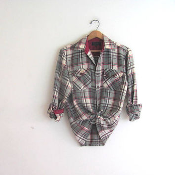 20% OFF SALE / Vintage Plaid Flannel / Grunge Shirt / red and gray flannel