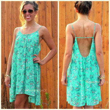 Best Buds Mint Floral Camisole Dress