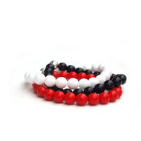 Bracelets Stretch Bracelet White bracelet Red by JPwithLove