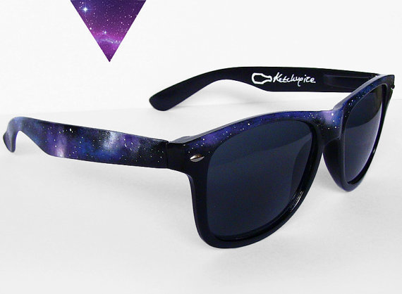 Galaxy Nebula Wayfarer sunglasses handpainted by ketchupize