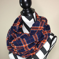 Navy and Orange Flannel Scarf, Navy Orange Plaid Print Flannel Infinity Scarf, Grunge Scarf