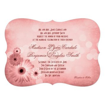 Vintage Pink Gerber Daisies Wedding Invitations