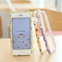 Lewire Floral Leopard Polk Dots Printed PC Frame Phone Case For iPhone 4/4S 0630J008 Black Bubbles