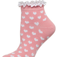 CORAL HEART LACE TOP SOCKS