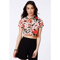 Missguided - Shavonne Tropical Silk Feel Cropped Shirt