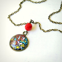 modern art upcycled colorful cabochon charm necklace, antique brass, red blue yellow, rainbow, pendant, cabochon necklace