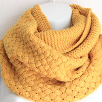 Mustard Chunky Honeycomb Knitted Infinity Scarf Loop Scarf Cozy Warm Scarf Fall Scarf Knitted Cowl Snood Knitted Scarves