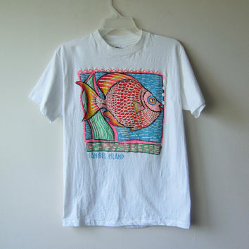 90s Sanibel Island Funky Neon Cartoon Tropical Fish T-Shirt - Size Medium