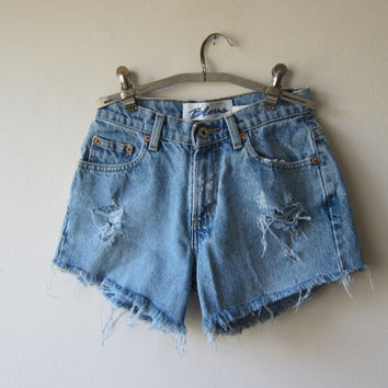 High Waisted Denim Shorts -- Distressed & Frayed -- Made from Vintage Express Bleus Jeans -- Grunge Revival Fashion