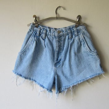 High Waisted Denim Shorts -- Distressed & Frayed -- Made from Vintage Jeans -- Grunge Revival Fashion