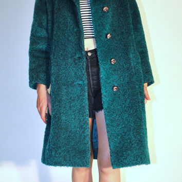 1960s vintage shaved wool petite emerald pea coat / small medium