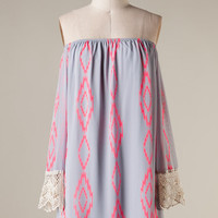 Blurred Lines Dress - Grey and Pink - Hazel & Olive