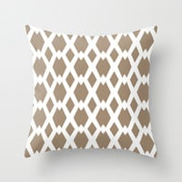 Daffy Lattice Cafe Latte Throw Pillow by Lisa Argyropoulos | Society6