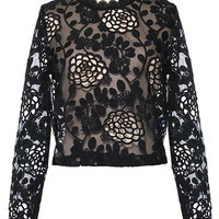 Stenciled Lace Sweater | Black Laser Cut Out Floral Vine Tops | RicketyRack.com