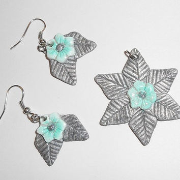 Beautiful Floral Teal Flower and Silver Colored Leaf Earrings and Pendant Set