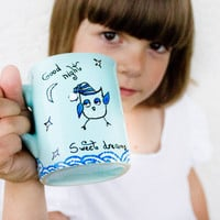 Owl Mug  Sweet Dreams  for kids by CraftUnikat on Etsy