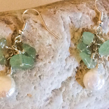 Apatite Stone and Pearl Earrings Green Precious Stone Jewelry Gemstone