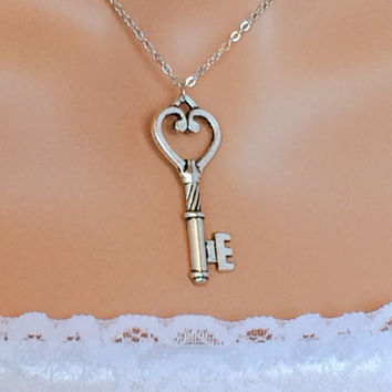 Key Necklace Silver Friendship Gift