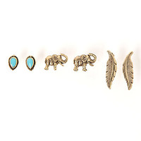 With Love From CA Elephant Earring Pack - Womens Jewelry - Gold - One
