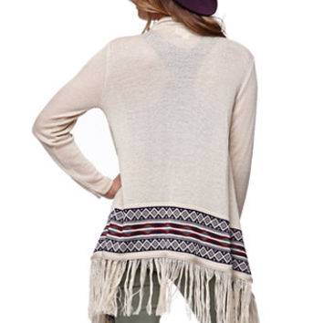 LA Hearts Drape Front Fringe Cardigan - Womens Sweater - White -