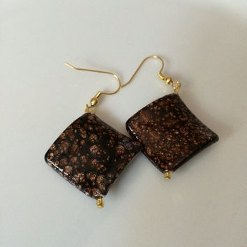 Coffee Speckled Diamond Shaped Bead Earrings