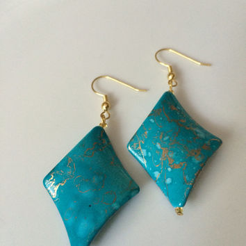 Turquoise Gold toned french hooked Bead Earrings
