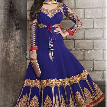 Navy Blue Georgette Long Anarkali Suit