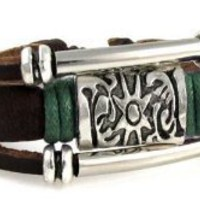 Leather Medallion Zen Bracelet with Silvertone Metal Sun Medallion and Metal Beads,Fits 6 to 9 Inch Wrists. Gift Box.