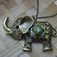 26 Inches Brass Chain Necklace with Chunky Elephant Pendant  2 Choices | pinayjewelry - Jewelry on ArtFire