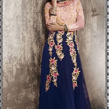 Royal Blue Georgette Long Anarkali Suit