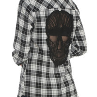 Black White Plaid Skull Woven Top