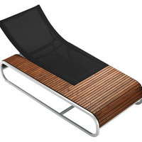 Tandem Reclining chair - Teak version Teck / Black fabric by Ego