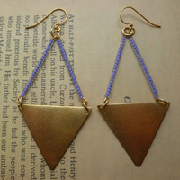 Triangle earrings in purple beaded by littlepancakes on Etsy